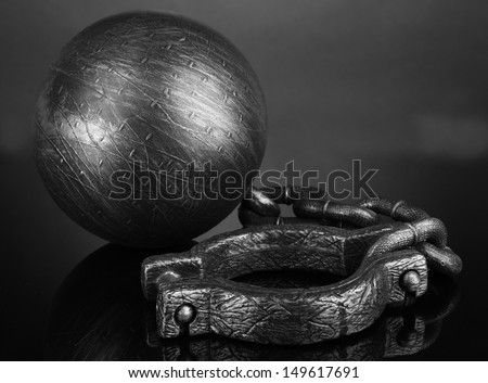 Ball and chain on grey background - stock photo