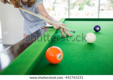 Ball and Snooker Player, woman play snooker - stock photo