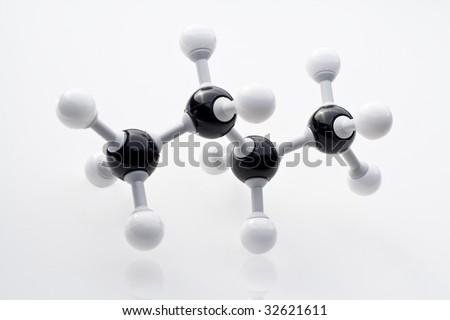 Ball and stick model of butane - stock photo