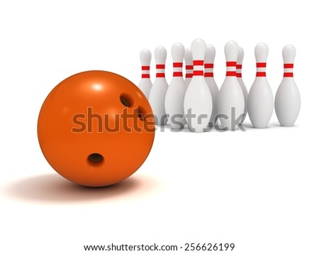 Ball and ten pin bowling, a close up on a white background. - stock photo