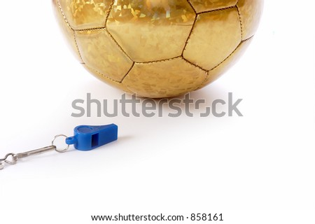 Ball and whistle on a white background 6 - stock photo