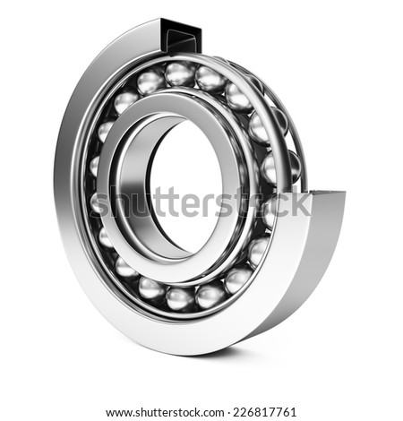 Ball bearing isolated on white background. 3d rendering image - stock photo