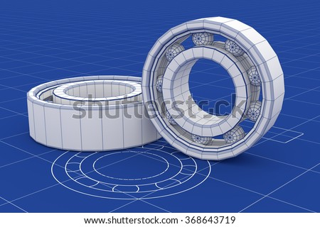 Ball Bearing mesh over a blueprint background. Mechanical components. Part of a series. - stock photo