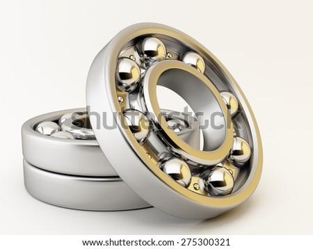 Ball bearing on white background - stock photo
