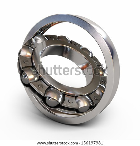 Ball bearing render detail section (isolated on white and clipping path)