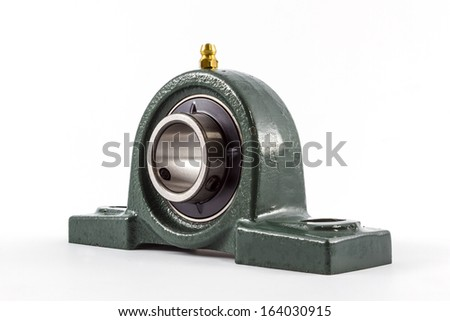 Ball bearing unit isolated on a white background. - stock photo