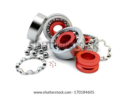 Ball bearing with metallic bearing balls on white background