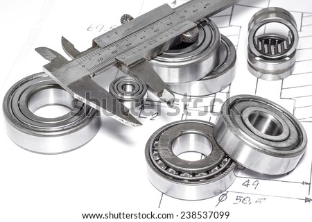 Ball bearings and Technical drawings for industry.