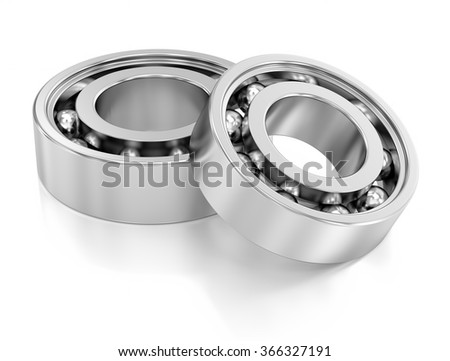 Ball Bearings over a white background. Mechanical components. Part of a series.