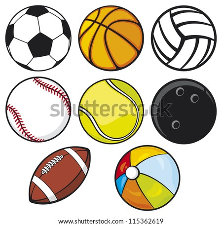 ball collection - beach ball, tennis ball, american football ball, football ball (soccer ball), volleyball ball, basketball ball, baseball ball, bowling ball - stock photo