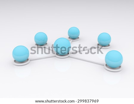 Ball connection concept, abstract 3d
