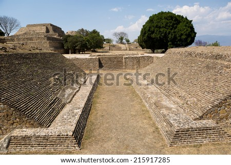 ball court at the Monte Alban ruins in Oaxaca Mexico - stock photo