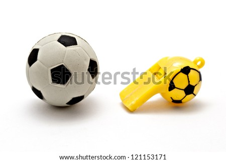 ball football and whistle - stock photo