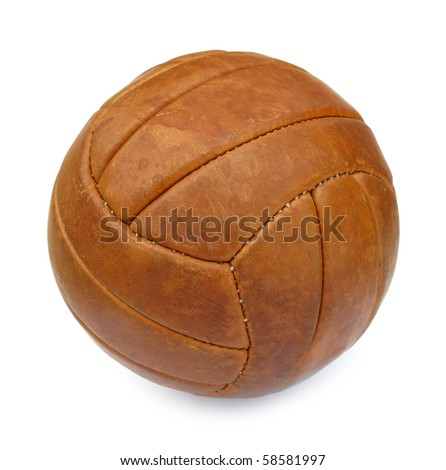 Ball football soccer leather brown vintage - stock photo