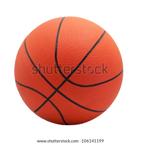Ball for game in basketball of orange colour isolated on white background - stock photo