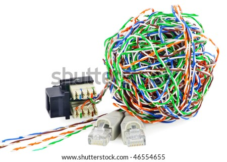 Ball from a color  twisted pair and  internet connectors. Isolated on white. - stock photo