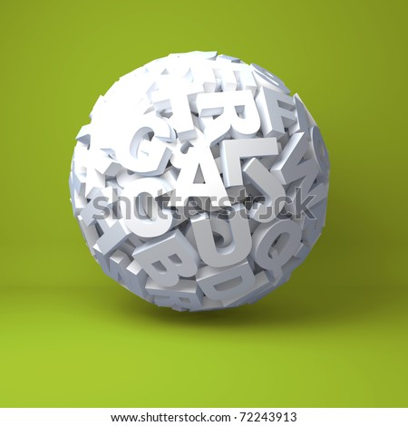 Ball from letters on an green background