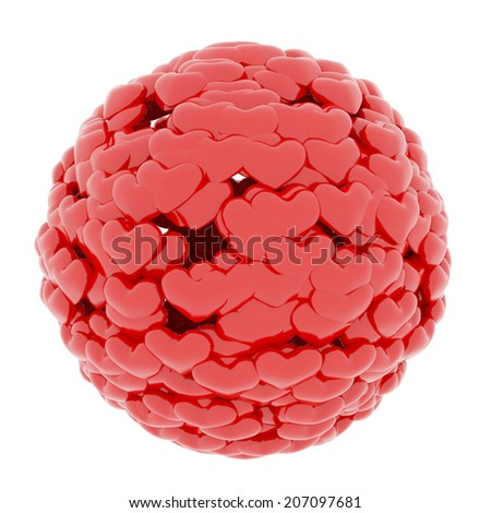 Ball from red hearts isolated at white background - stock photo
