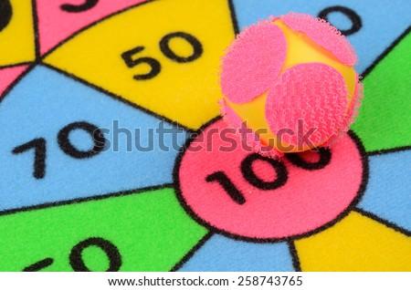 Ball in center of target. Closeup shot - stock photo