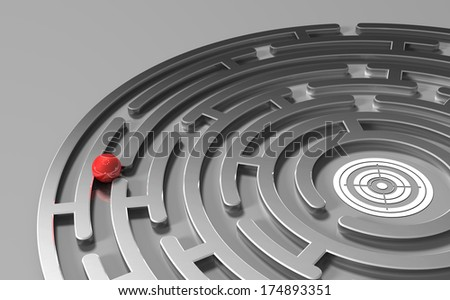 ball in the metal maze with goal  - stock photo