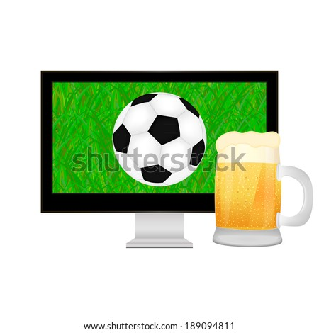 ball into the TV screen and mug of beer - stock photo