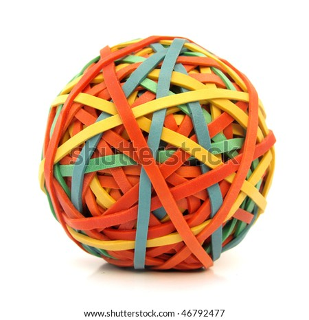 Ball made of colorful rubber bands - stock photo