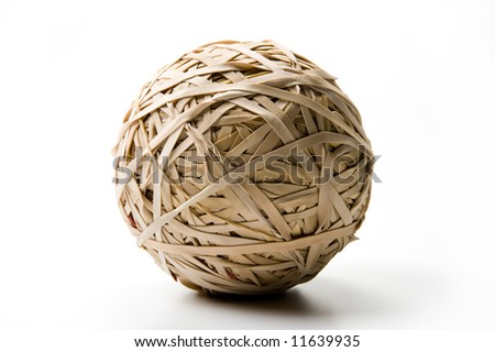 Ball made of rubber bands on white - stock photo