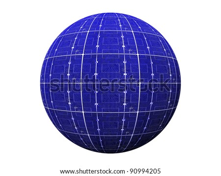 ball of blue photovoltaic  cells - stock photo