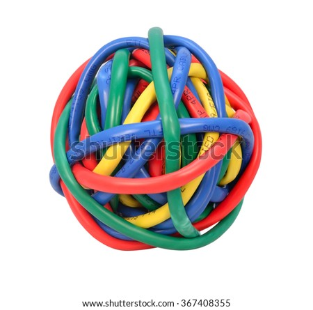 Ball of Brightly Multi Colored Network Cables Isolated on White Background. Ball of of coloured Wires