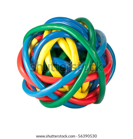 Ball of Brightly Multi Colored Network Cables Isolated on White Background. Ball of of coloured Wires - stock photo