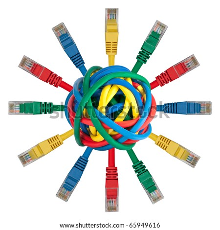 Ball of colored cables with network plugs pointing in every direction