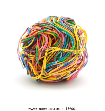 Ball of colored wire isolated on white background