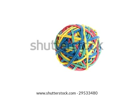 Ball of colourful rubber bands - stock photo