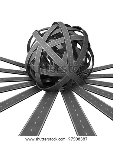 Ball of confusion and difficult problems searching for solutions and success with many roads merging together into a pile of complicated directions requiring good management and leadership. - stock photo