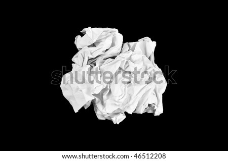 ball of crumpled office paper isolated on black background - stock photo