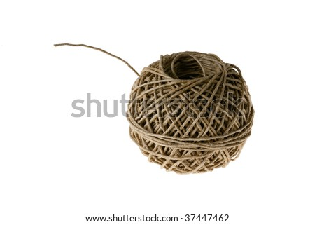Ball of Linen String Isolated on White Background