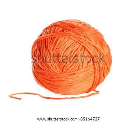 Ball of orange  yarn on white background - stock photo