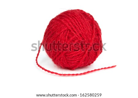 Ball of red wool yarn isolated on a white background - stock photo