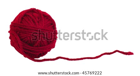 Ball of red yarn isolated on white background - stock photo