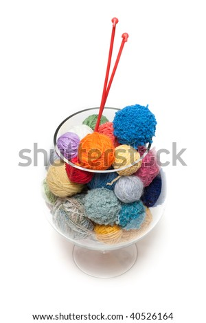 Ball of the threads for knitting in glass, spokes