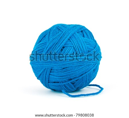 Ball of threads isolated on white background - stock photo