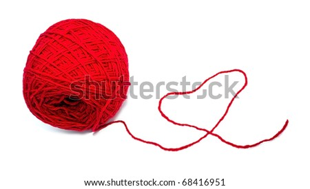 Ball of threads made the red heart - stock photo