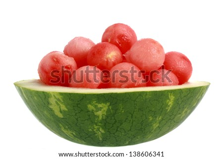 ball of watermelon in a natural bowl