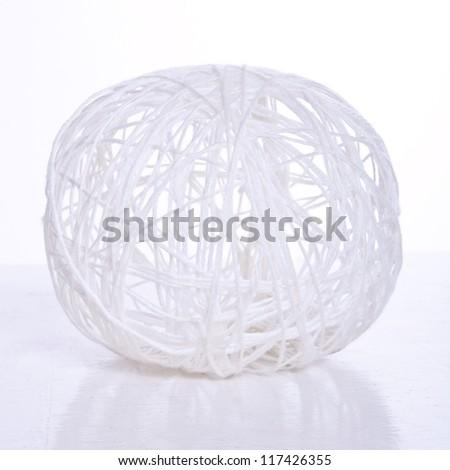 Ball of white yarn - stock photo