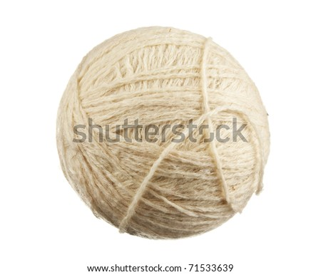 ball of wool isolated on a white  background - stock photo