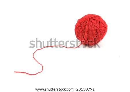 Ball of wool with read threads isolated on white background - stock photo
