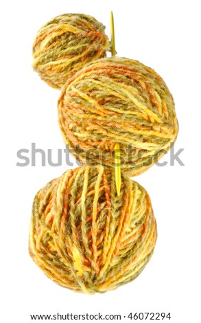 ball of woolen threads, spokes are the home knitting
