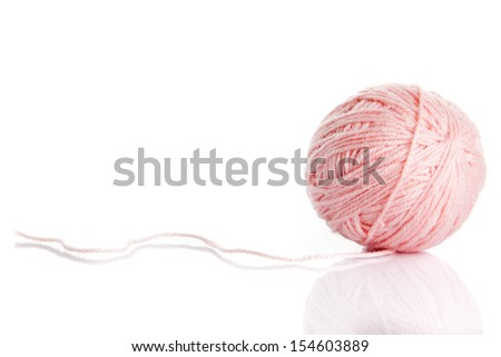 ball of yarn on white background - stock photo
