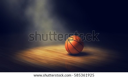 Ball on basketball court with spotlight , 3d illustration