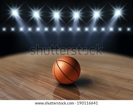 Ball on basketball court with spotlights , Basketball court - stock photo